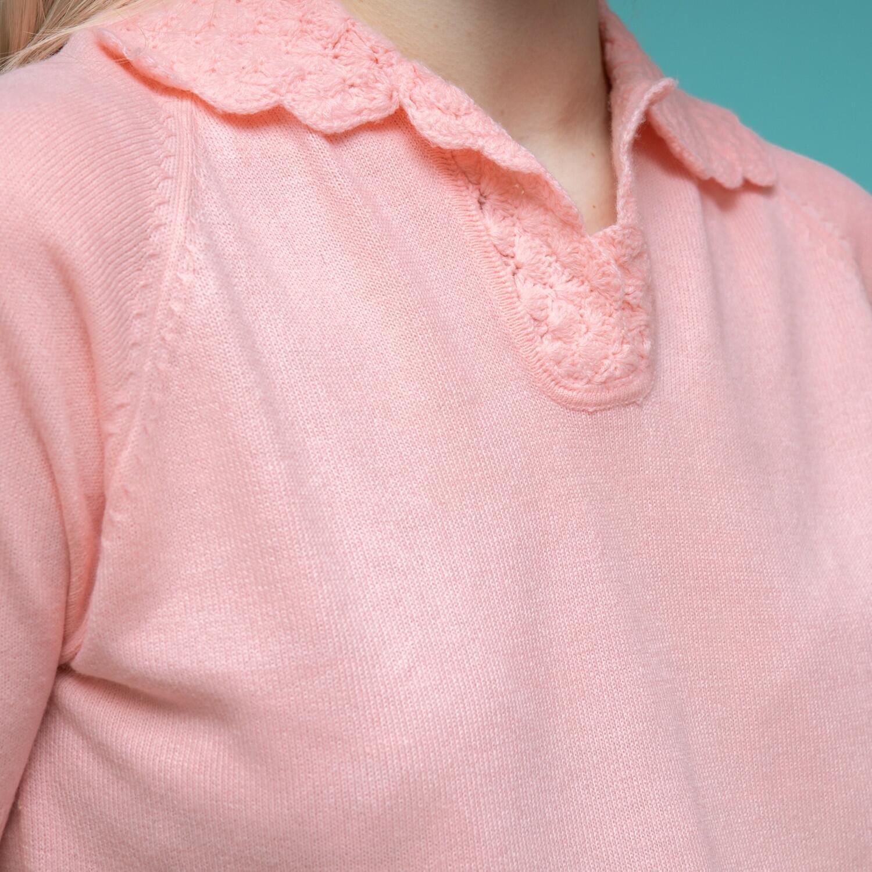 Jasnoróżowa bluzka z kołnierzykiem - KEX Vintage Store | JestemSlow.pl