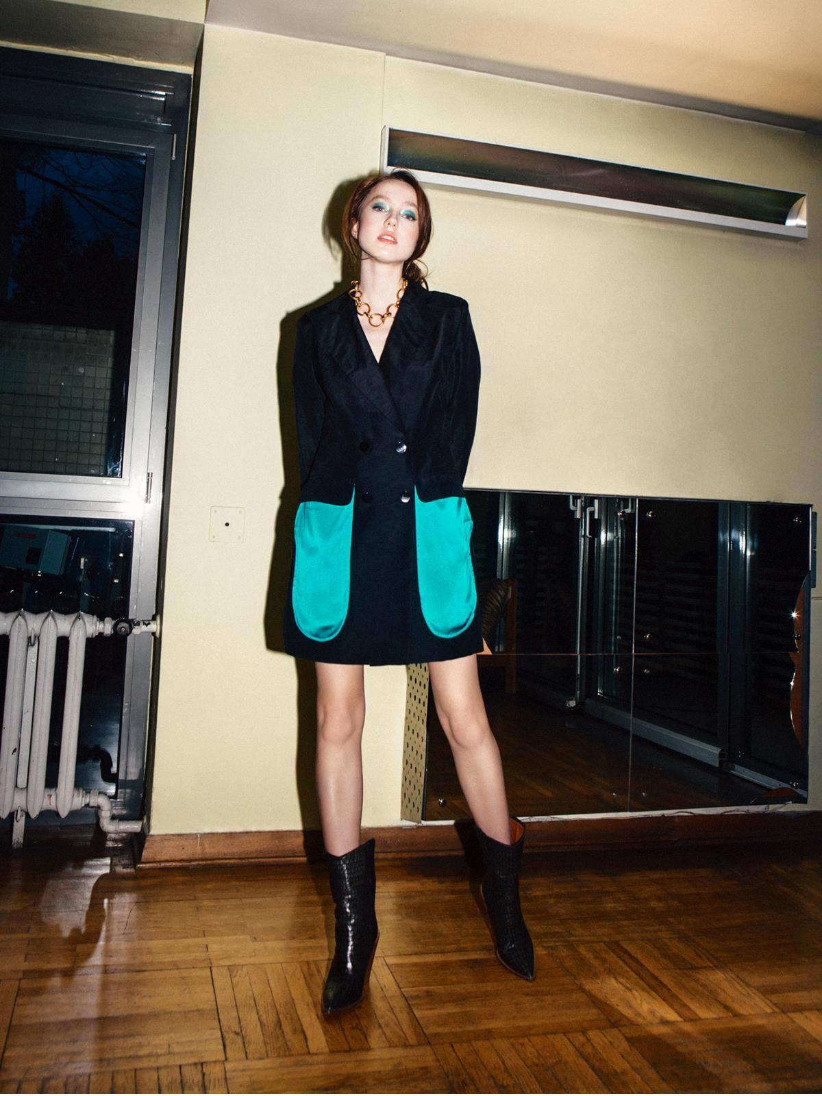 Aqua Black Silk Jacket - DILIGENT