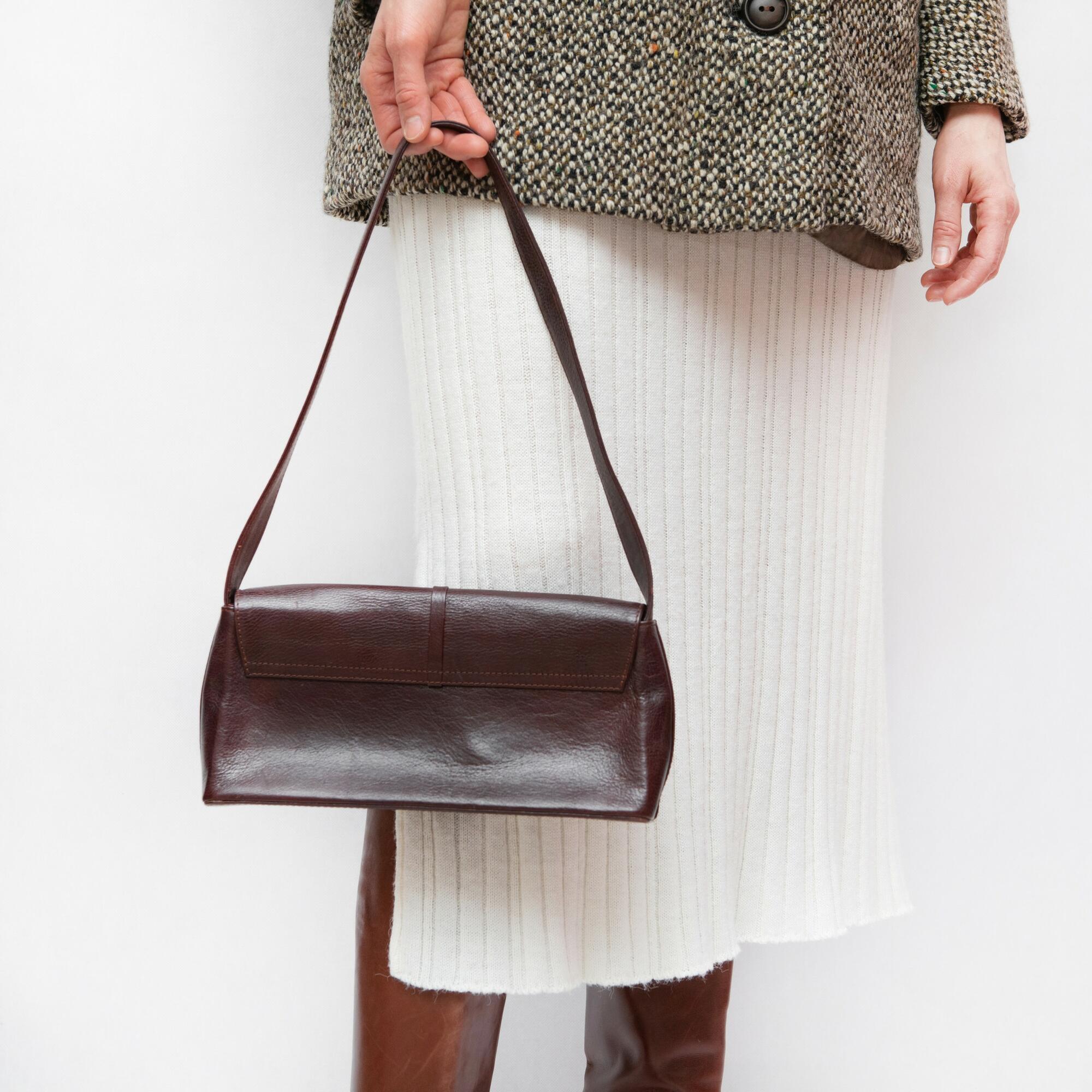 Brązowa torebka ze skóry na ramię - KEX Vintage Store | JestemSlow.pl