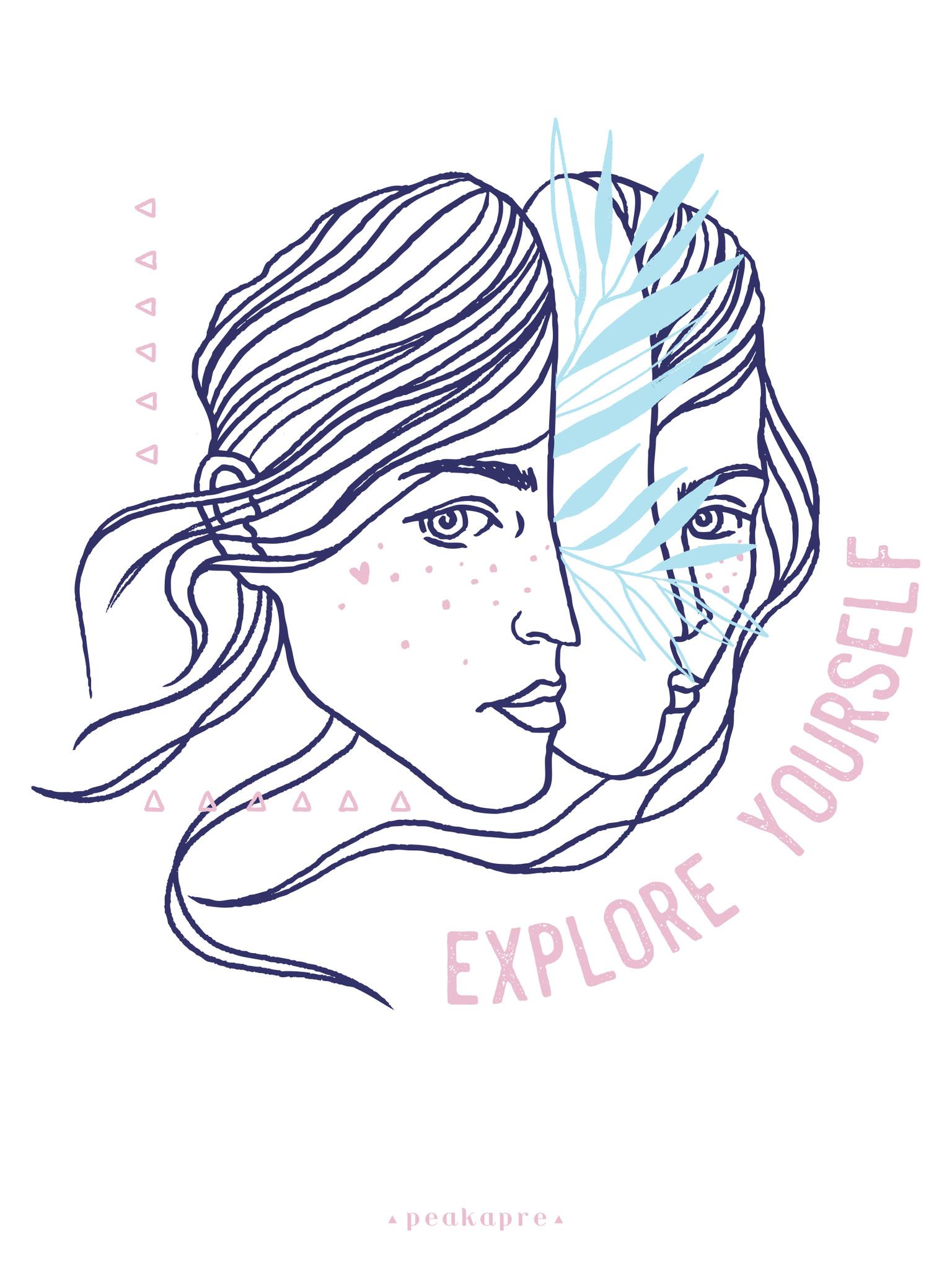 "Plakat artystyczny z grafiką Peakapre ""Explore Yourself"" - kolekcja Moments - Peakapre"