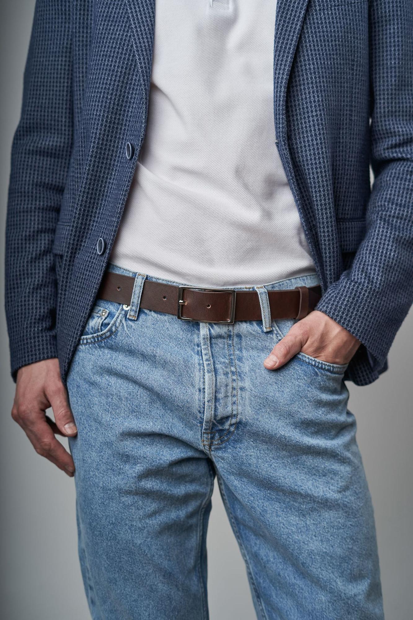 PASEK UNIQUE & CLASSY ciemny brąz srebrna klasyczna prostokątna klamra do spodni - Bellera