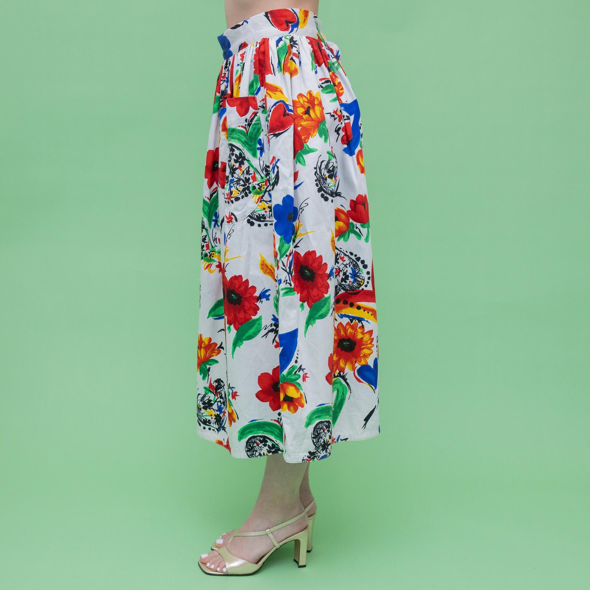 Biała spódnica w kwiatowy wzór rozmiar - KEX Vintage Store | JestemSlow.pl