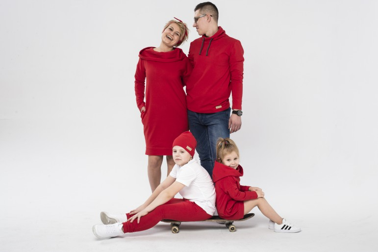 Mama i syn - zestaw tuniki damskiej i spodni baggy dla chłopca - czerwień - Lovemade