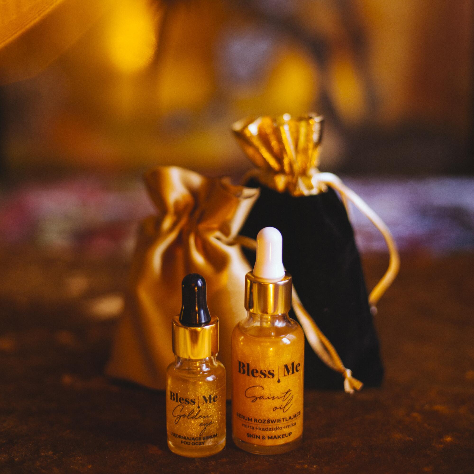 Zestaw: Serum Rozświetlające Saint Oil 30 ml SKIN & MAKE UP i Ujędrniające Serum Pod Oczy Golden Eye 10 ml - Bless Me Cosmetics   JestemSlow.pl