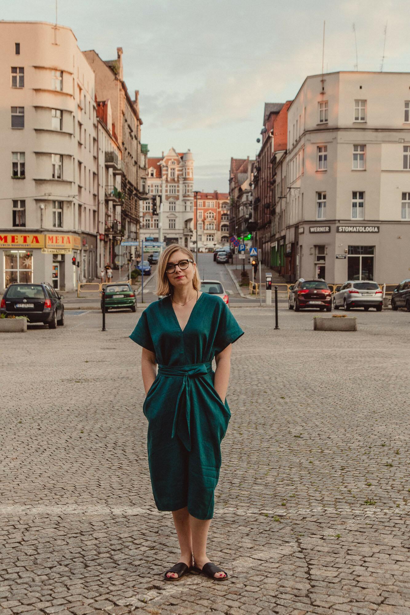 """Sukienka lniana """"uskrzydlona"""" No4 turkus - Bäckerei Bytom   JestemSlow.pl"""