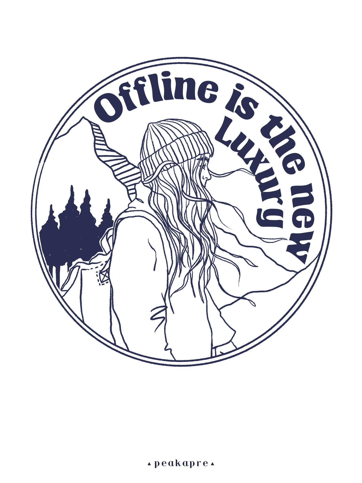"Plakat artystyczny z grafiką Peakapre ""Offline is the new Luxury"" - kolekcja Moments - Peakapre"