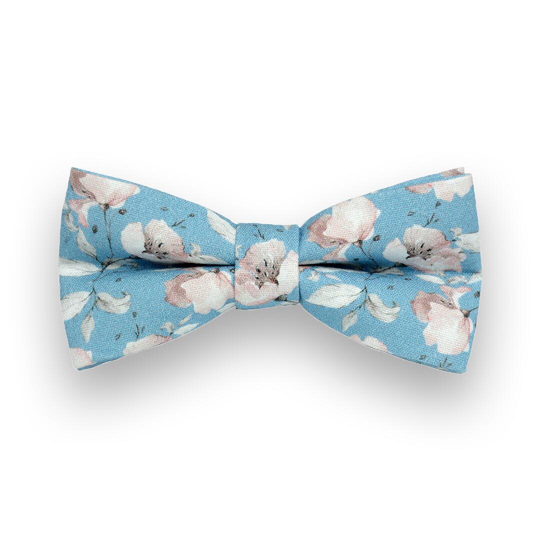Błękitna mucha w różowe kwiaty A01 - MUCHAMA | JestemSlow.pl
