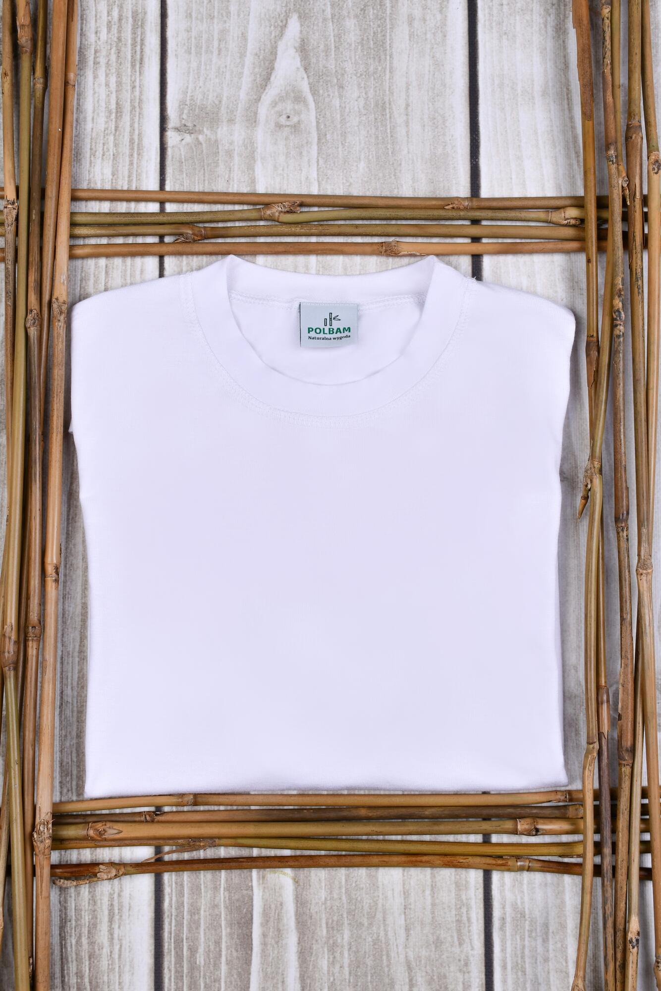 Bambusowy T-shirt  kolor biały, rozmiar M - POLBAM | JestemSlow.pl