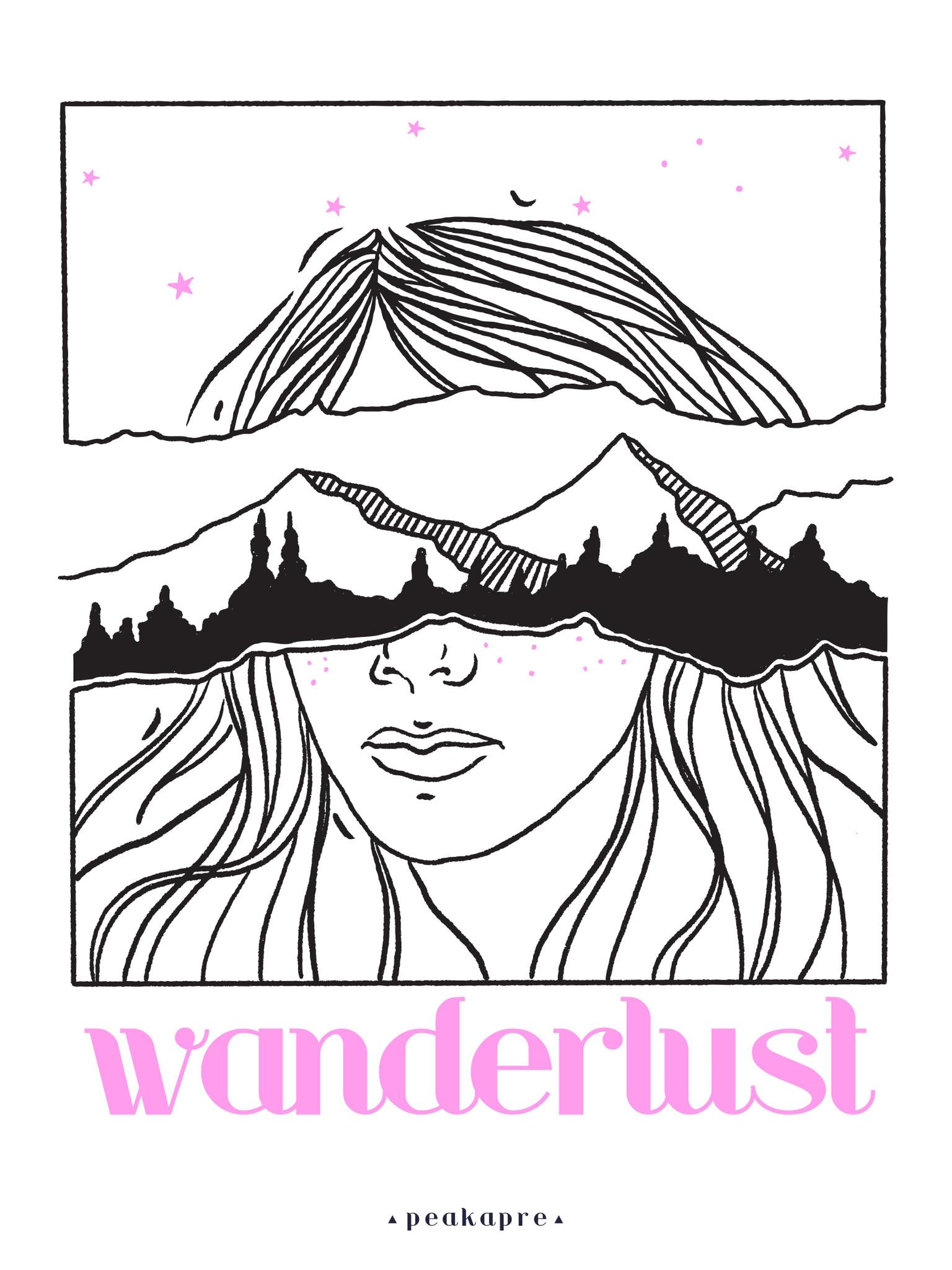 """Plakat artystyczny z grafiką Peakapre """"Wanderlust"""" - kolekcja Moments - Peakapre"""