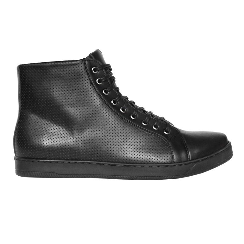 Męskie HECTOR czarne sneakersy za kostkę z czarną podeszwą - Fairma Ethical Design   JestemSlow.pl