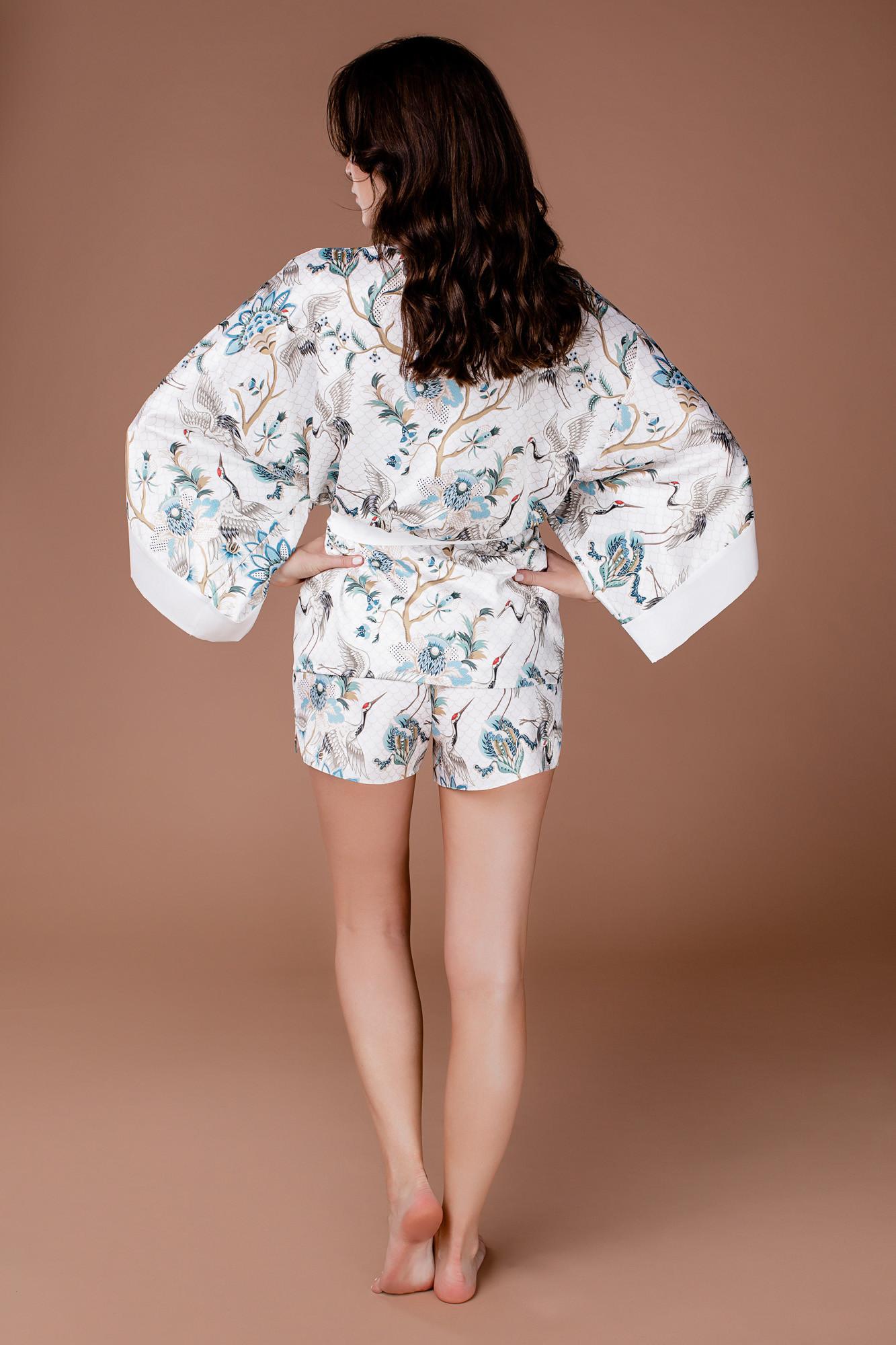 Piżama z narzutą i krótkimi spodenkami biała Sunshine - Endorfinella | JestemSlow.pl