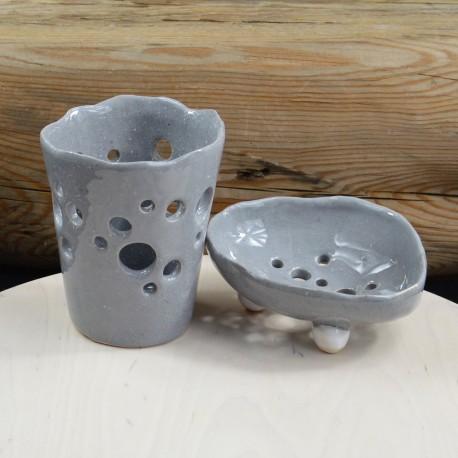 Zestaw ceramiczny do łazienki szary - Dotyk Kreacji   JestemSlow.pl
