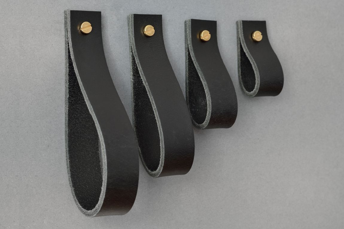 Skórzany uchwyt meblowy Lade #1 czarny - Steil