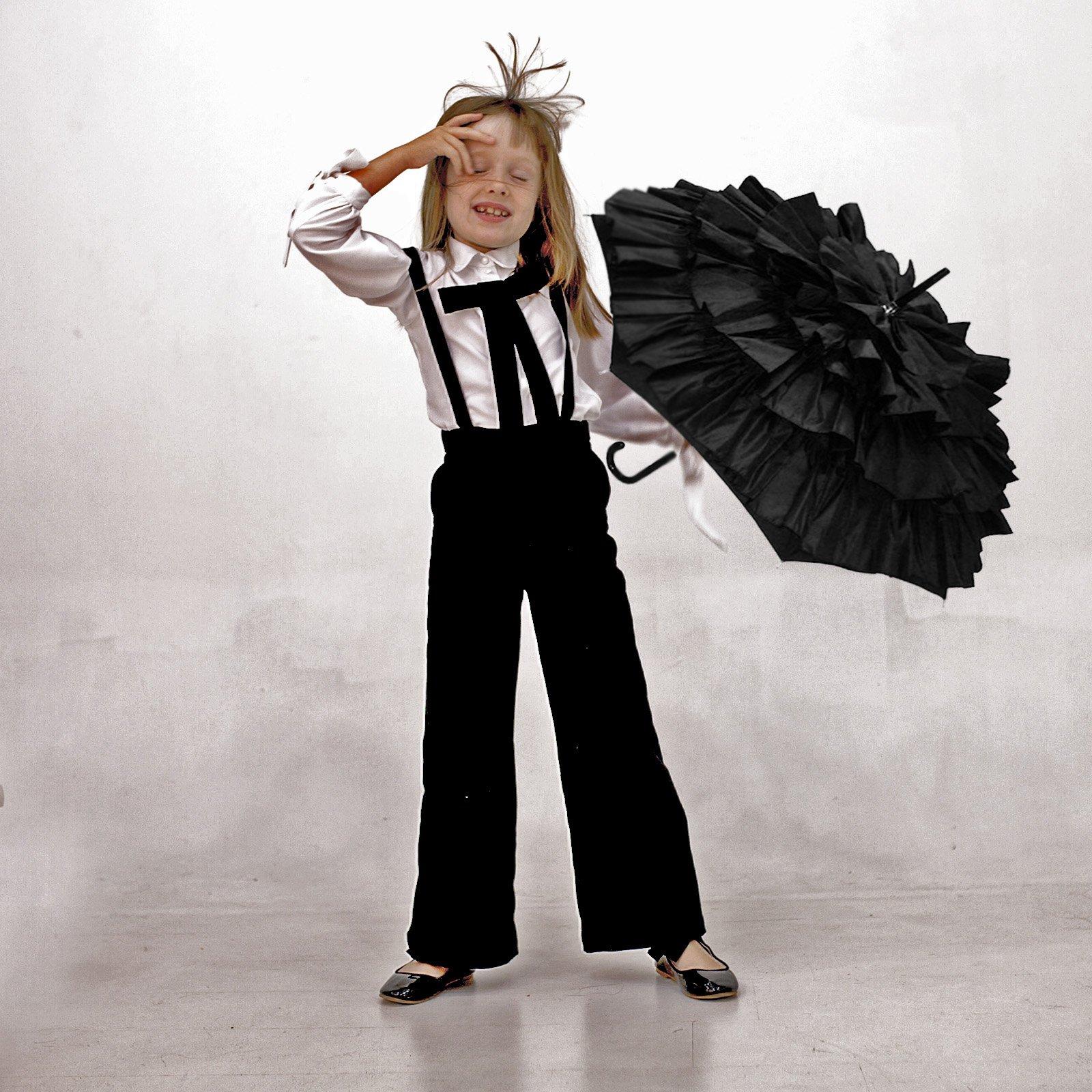 Spodnie na szelkach bawełna czarny - Domino.little.dress