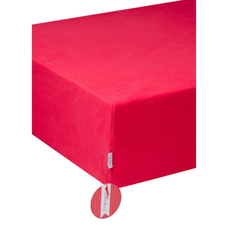 Bawełaniane prześcieradło z gumką - Czerwień BIMBS - BIMBS