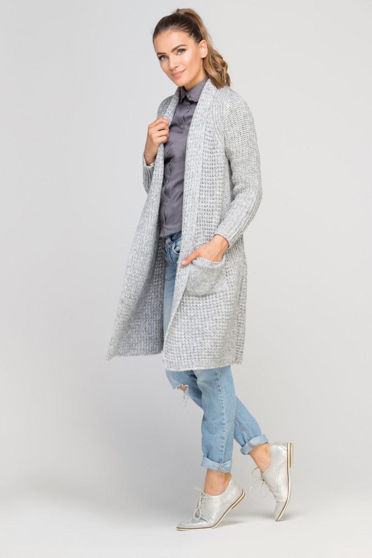 Dzianinowy płaszczyk, WE112 szary - Lanti