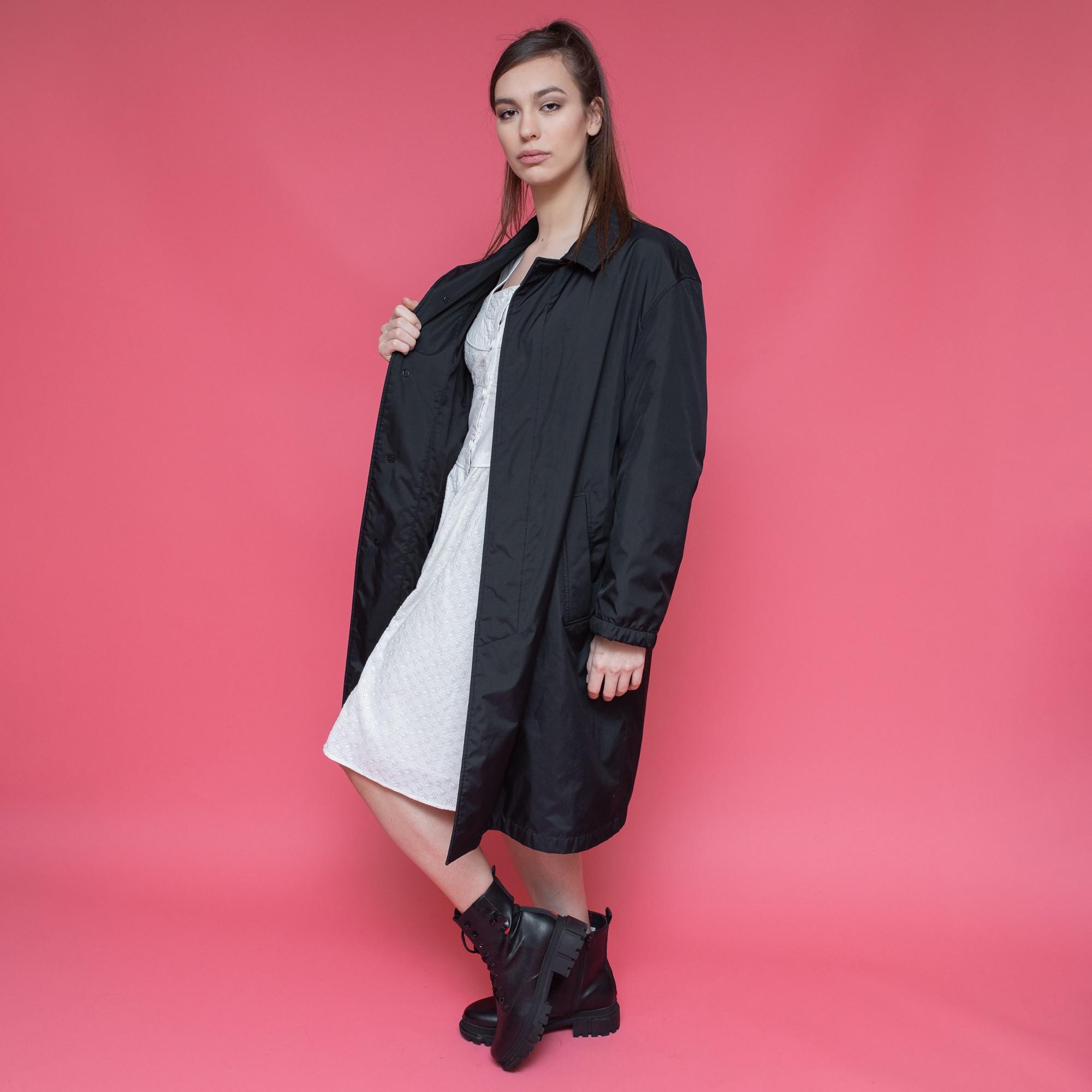 Czarny płaszcz na podszewce St. Michaels - KEX Vintage Store   JestemSlow.pl