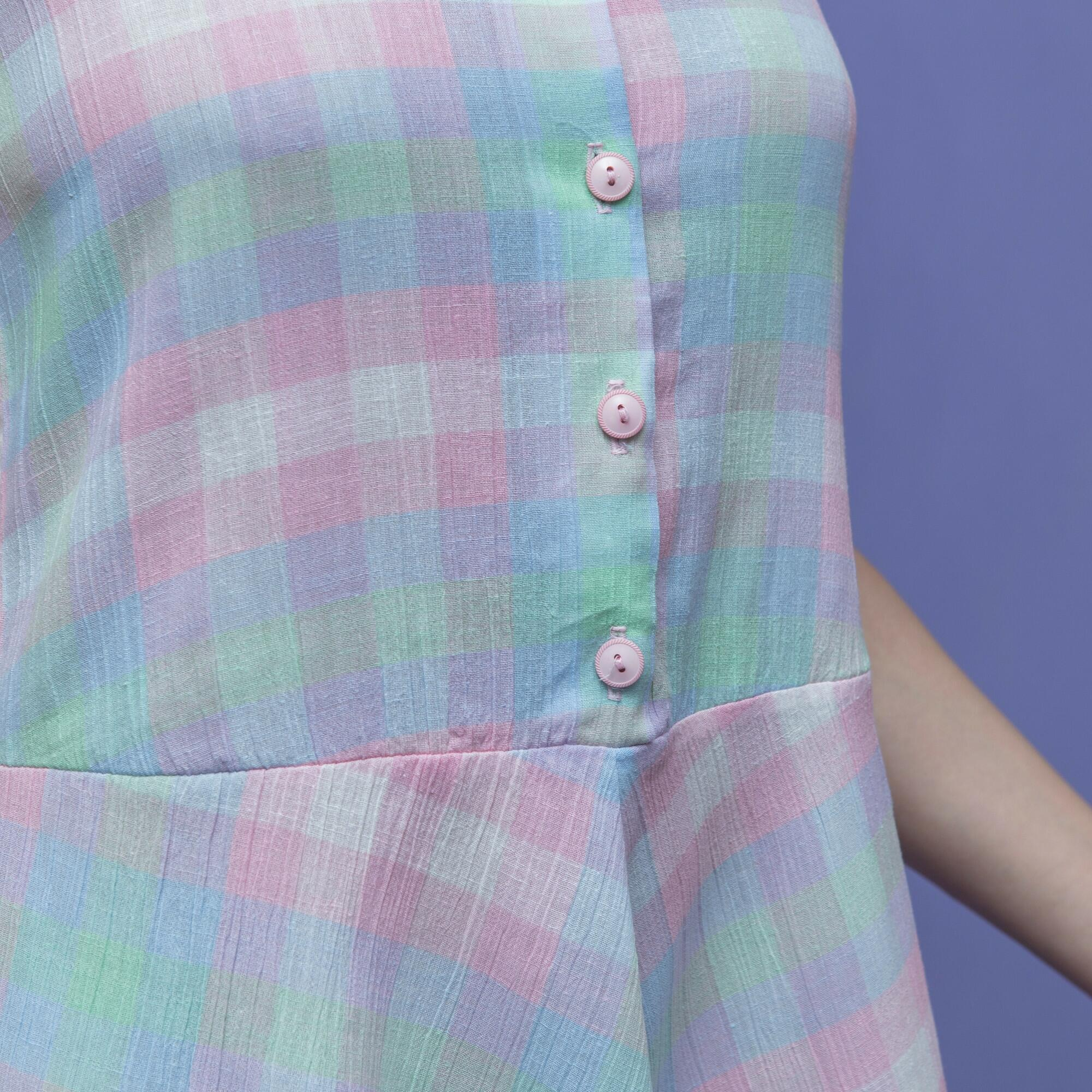 Pastelowa sukienka w kratkę - KEX Vintage Store | JestemSlow.pl