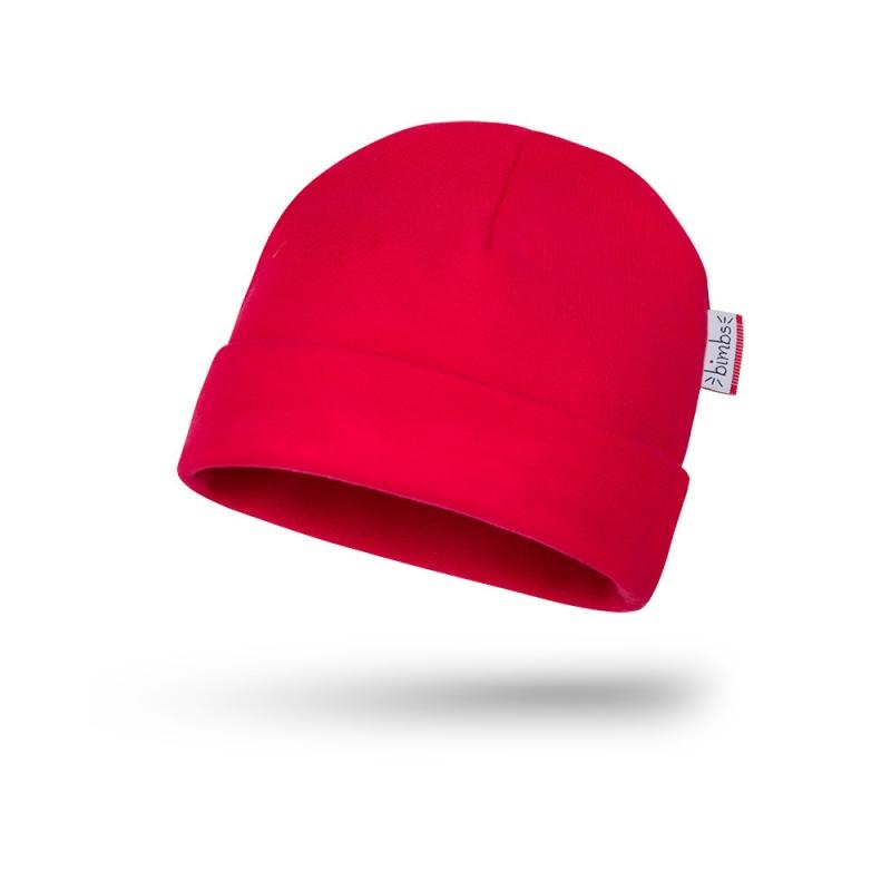 Bawełniana czapeczka niemowlęca - Czerwień - BIMBS