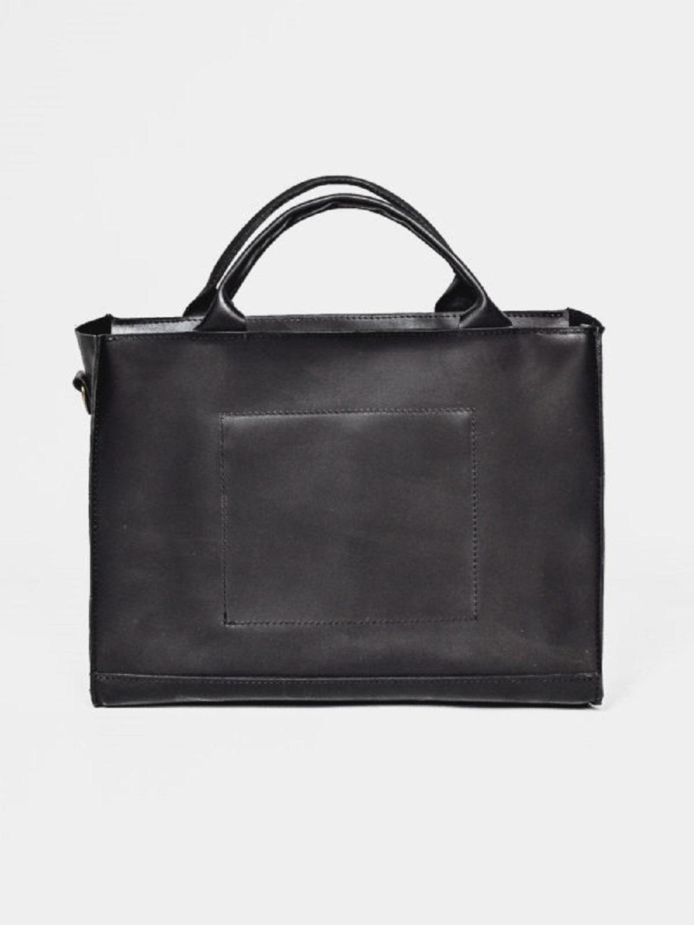 TORBA DAMSKA T01 DEEP BLACK - torebka damska na dokumenty - torebka czarna damska na laptopa - torebka damska na ramię -Lezerton
