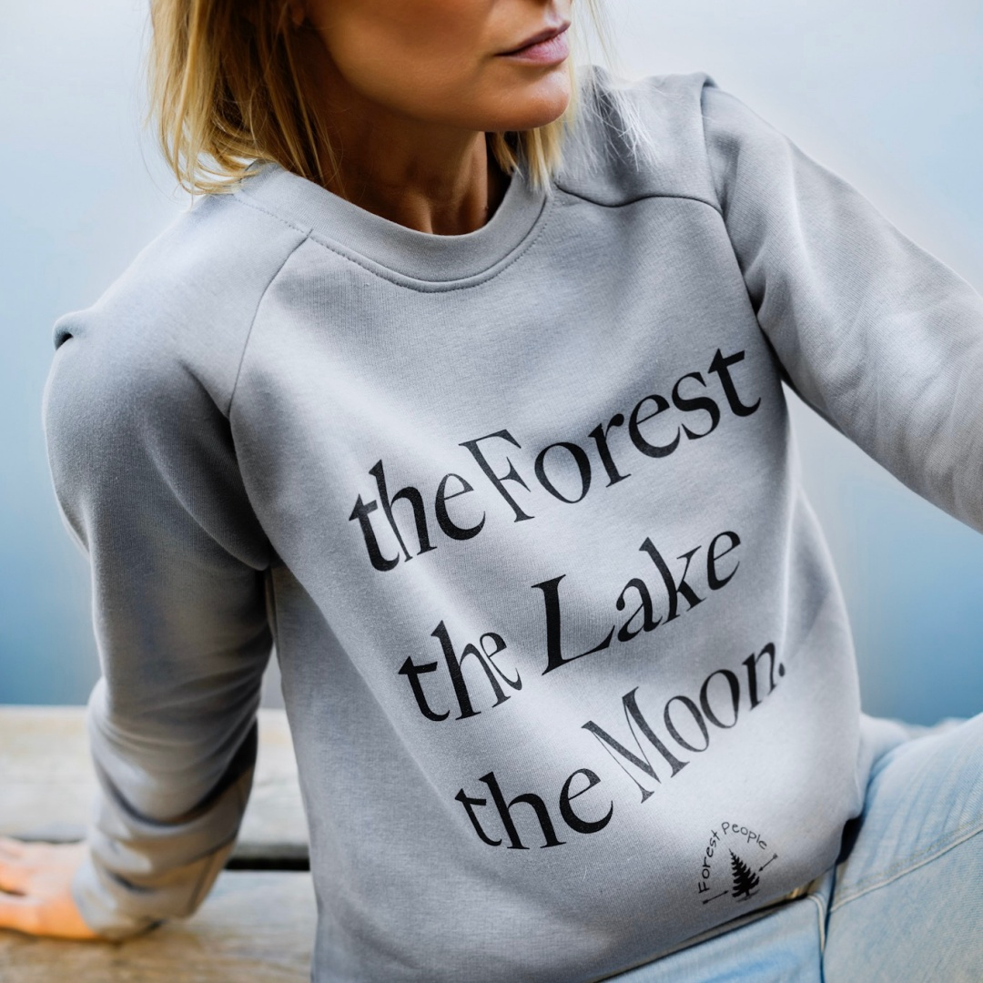 Bluza THE FOREST THE LAKE THE MOON  bawełniana buza szara bluza z nadrukiem ekologiczna bluza - Forest People