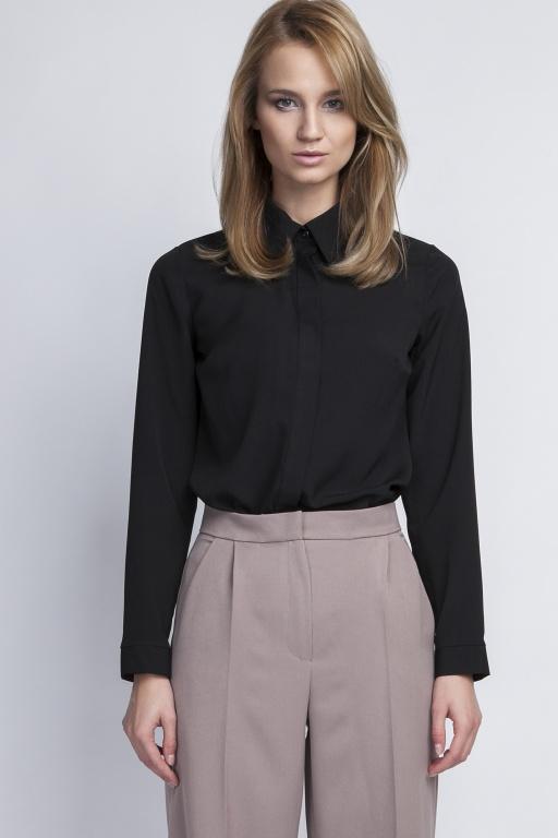 Elegancka koszula, K101 czarny - Lanti | JestemSlow.pl