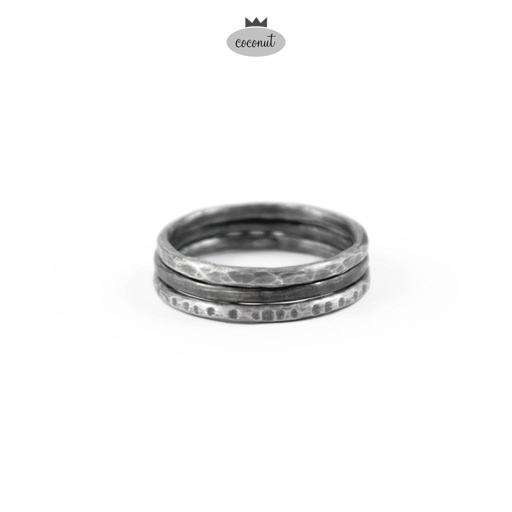 Pierścionek TEXTURE - 3 obrączki srebro T16 - COCONUT