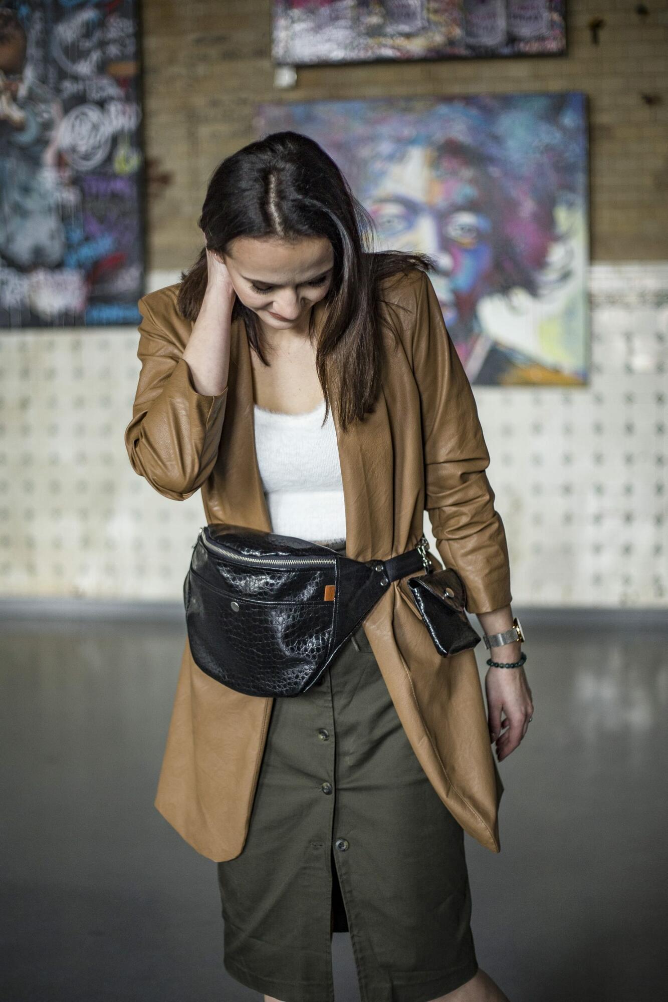 Nerka Black CrocoGlam z saszetką - Tasiemasie | JestemSlow.pl