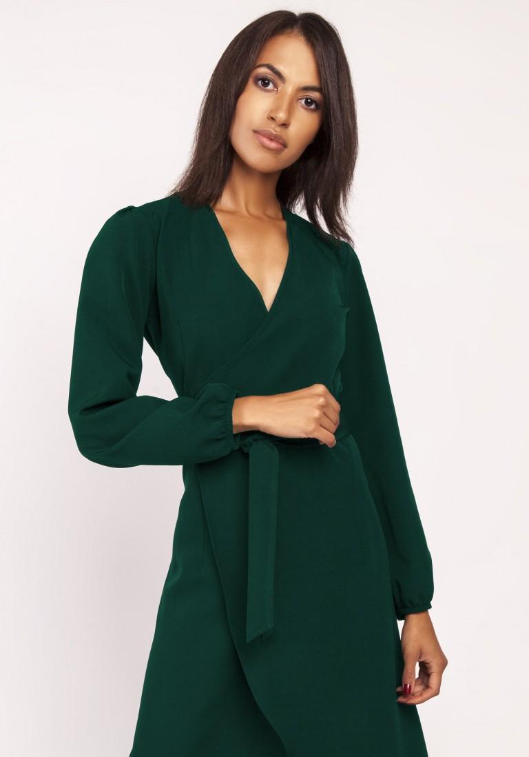 Asymetryczna, kopertowa sukienka, SUK160 zieleń butelkowa - Lanti