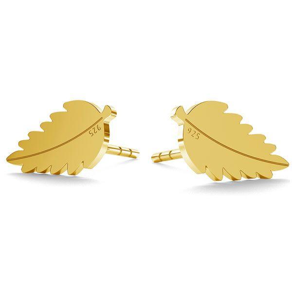 Kolczyki w kształcie listków wykonane ze srebra 925 Zapinane na sztyft Wymiary 9 70 x5 30 mm Pakowane w pudełeczko z logo marki Dostępne w wersji ze srebra 925 srebra pokrytego 24ct złotem lub różowym złotem