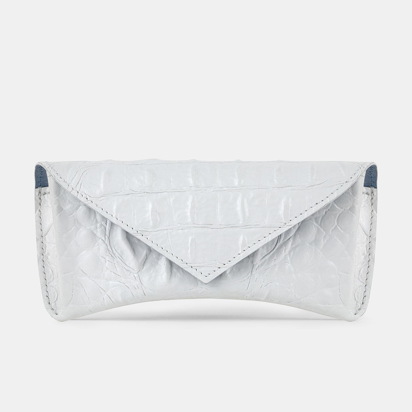 Skórzane etui na okulary Everly / biały krokodyl - SHELEST | JestemSlow.pl
