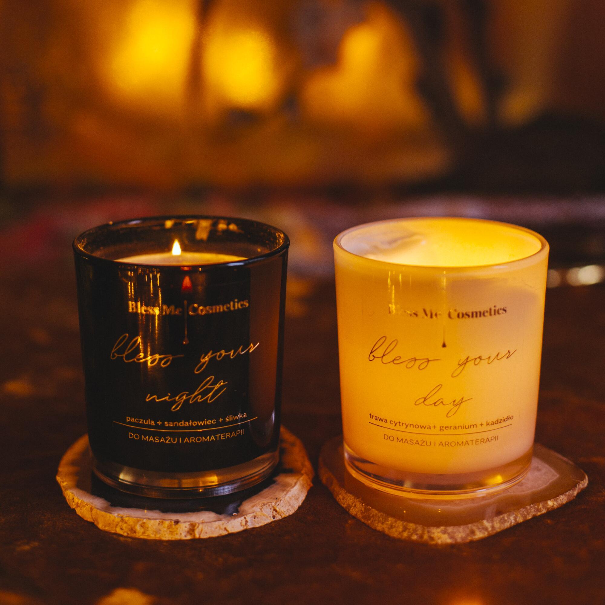 Zestaw: Świeca do masażu Bless Your Day i Świeca Bless Your Night - Bless Me Cosmetics | JestemSlow.pl