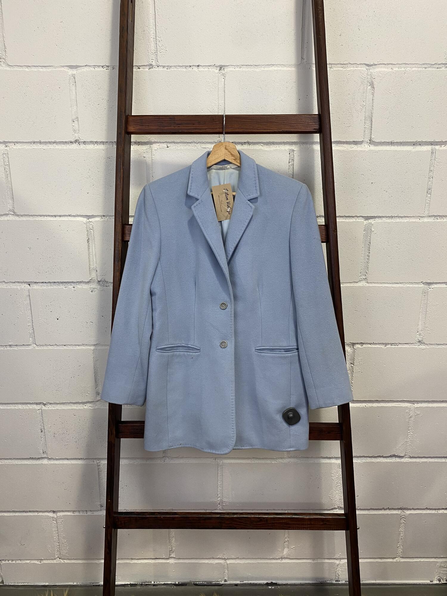 Wełniany błękitny płaszcz MARK&SPENCER - Vintage Store | JestemSlow.pl