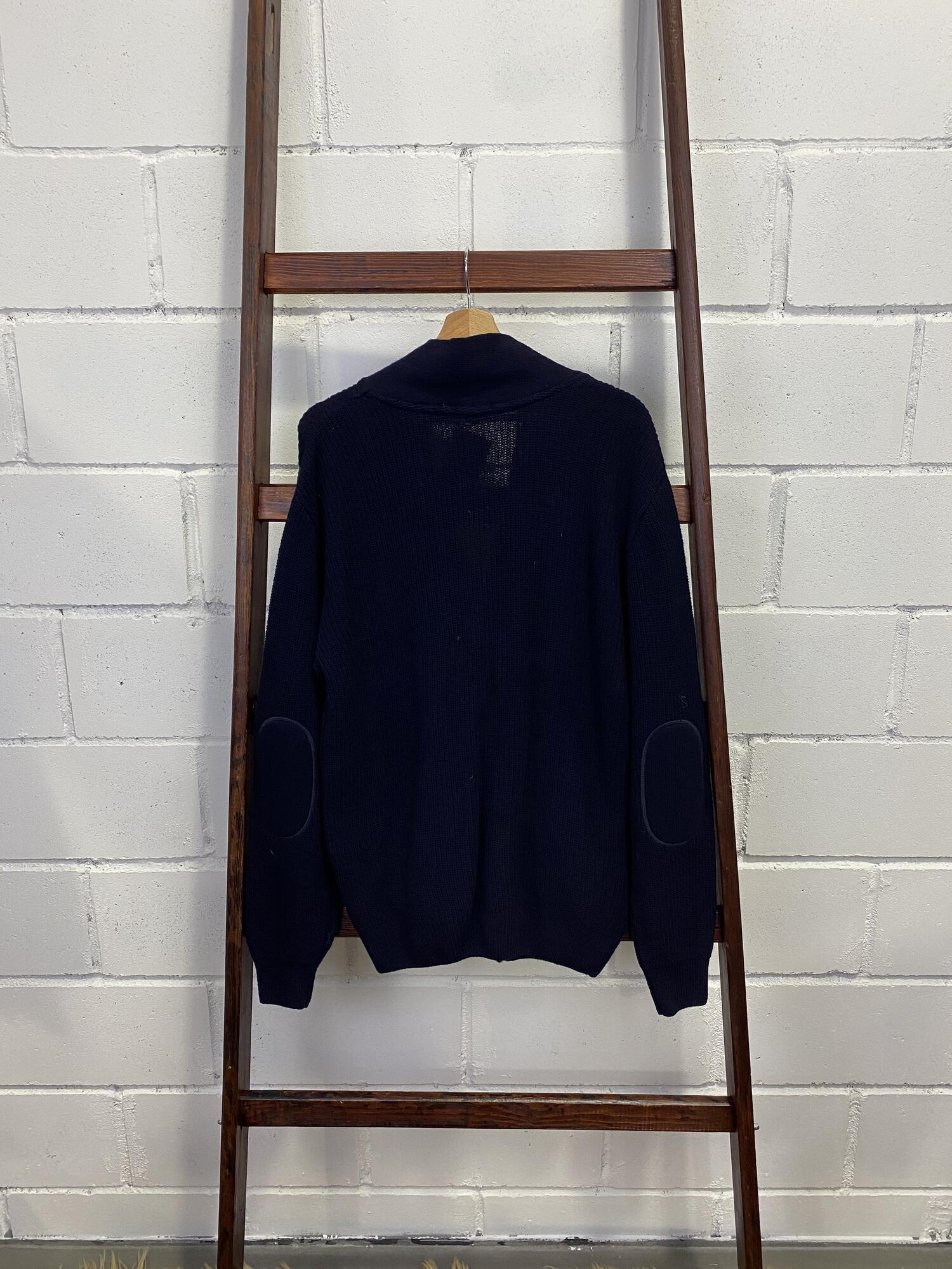 Granatowy sweter z brązowymi guzikami ARSENAL - Vintage Store   JestemSlow.pl