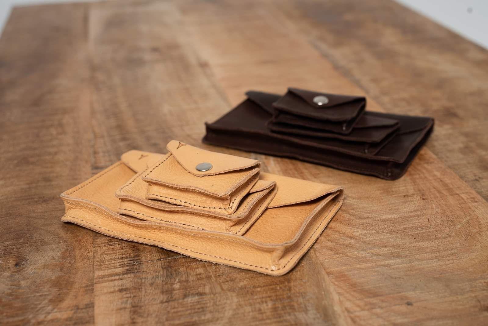 Zestaw torebek exclusive nerka brąz surowa gruba skóra  - Agi Jensen Design
