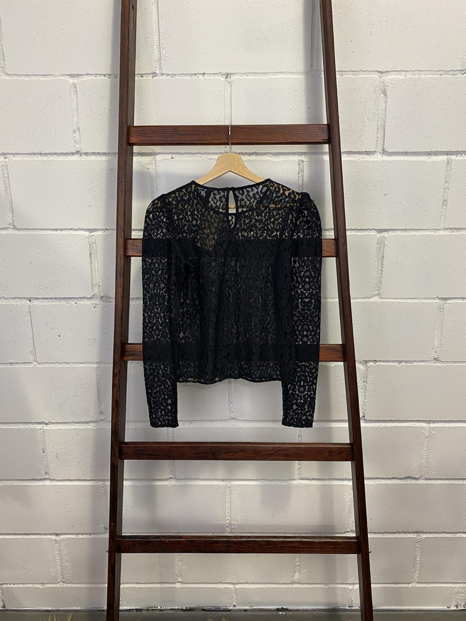 Czarna koronkowa bluzka w panterkę ZARA - Vintage Store | JestemSlow.pl