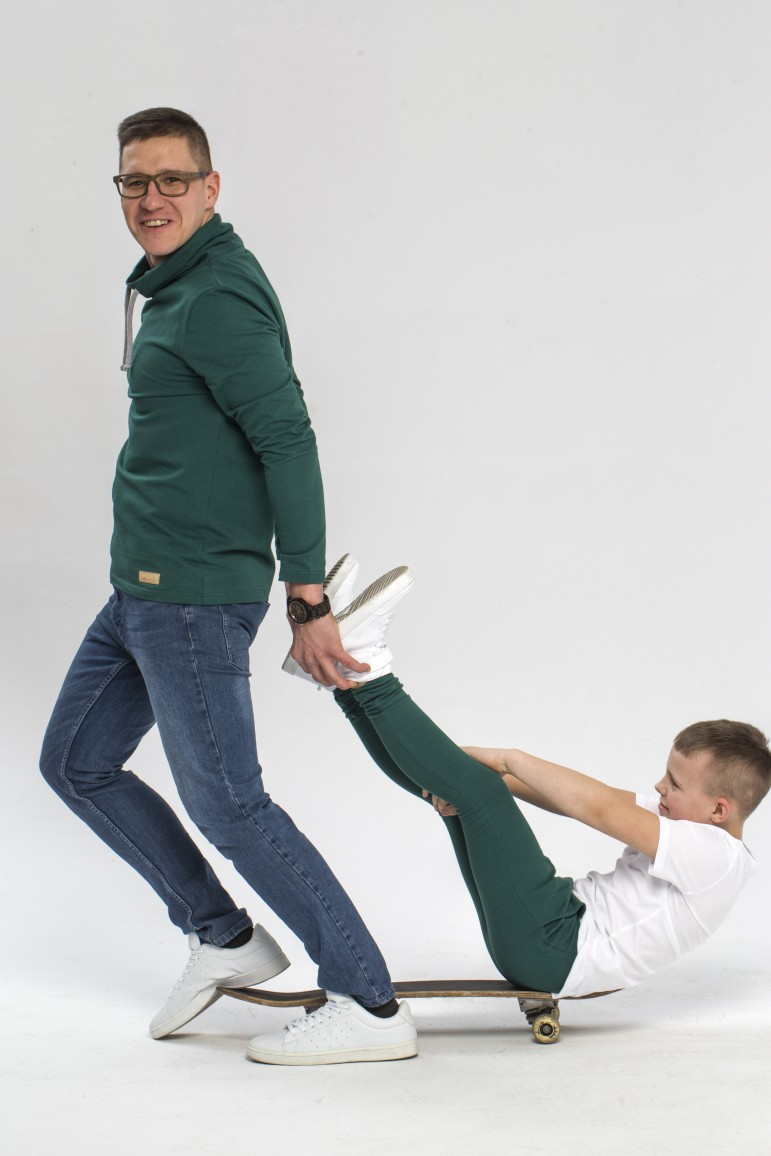 Tata i syn - zestaw męskiej bluzy i spodni baggy dla chłopca - zieleń - Lovemade