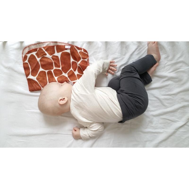 """Mini pieluszka mgiełka. Tak miękka, że dziecko lubi mieć ją zawsze przy sobie. Doskonała do tulenia, wycierania, jako apaszka i zebezpieczenie przed """"ulewkami"""", lub mały podróżny ręczniczek. Minimalistyczna płaska lamówka sprawia, że dziecko nie wyczuwa brzegów pieluszki.Pieluszki w całości wykonana z włókna bambusowego: są niezwykle delikatne i miękkie, a jednocześnie bardzo trwałe i wytrzymałe,posiadają właściwości antybakteryjne i antygrzybiczne,nie powodują odczynów alergicznych, są bezpieczne dla skóry,chłoną wodę aż o 60% lepiej od bawełny.posiadają właściwości termoregulacyjne, w upały daje poczucie kojącego chłodu, zimą zaś przyjemnego ciepła,zatrzymują szkodliwe promieniowanie UV,są odorochłonne, budowa włókna bambusowego zatrzymuje w sobie brzydkie zapachy eliminując je do czasu prania,nawet po wielu praniach zachowują swoją miękkość i kolor. Produkt jest wykonany z materiałów i barwników certyfikowanych Oeko-Tex Standard 100 """"Tekstylia godne zaufania"""" I klasy. Wymiary: 30cm"""
