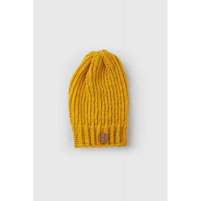 Czapka beanie z wełny merynosa  Żółta Wełna - HisOutfit