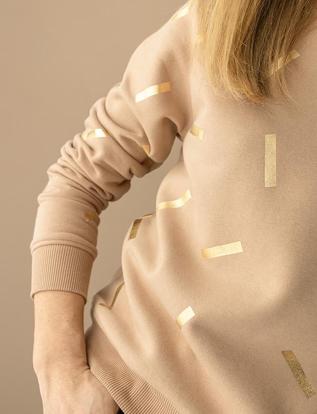 Beżowa bluza w złote printy DONATELLA - Cocoon   JestemSlow.pl