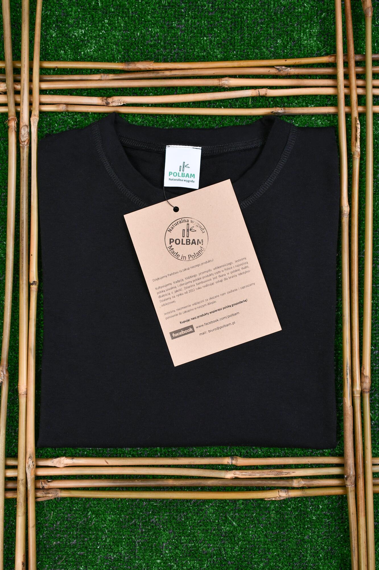 Bambusowy T-shirt Unisex kolor czarny, rozmiary S-2XL - POLBAM | JestemSlow.pl
