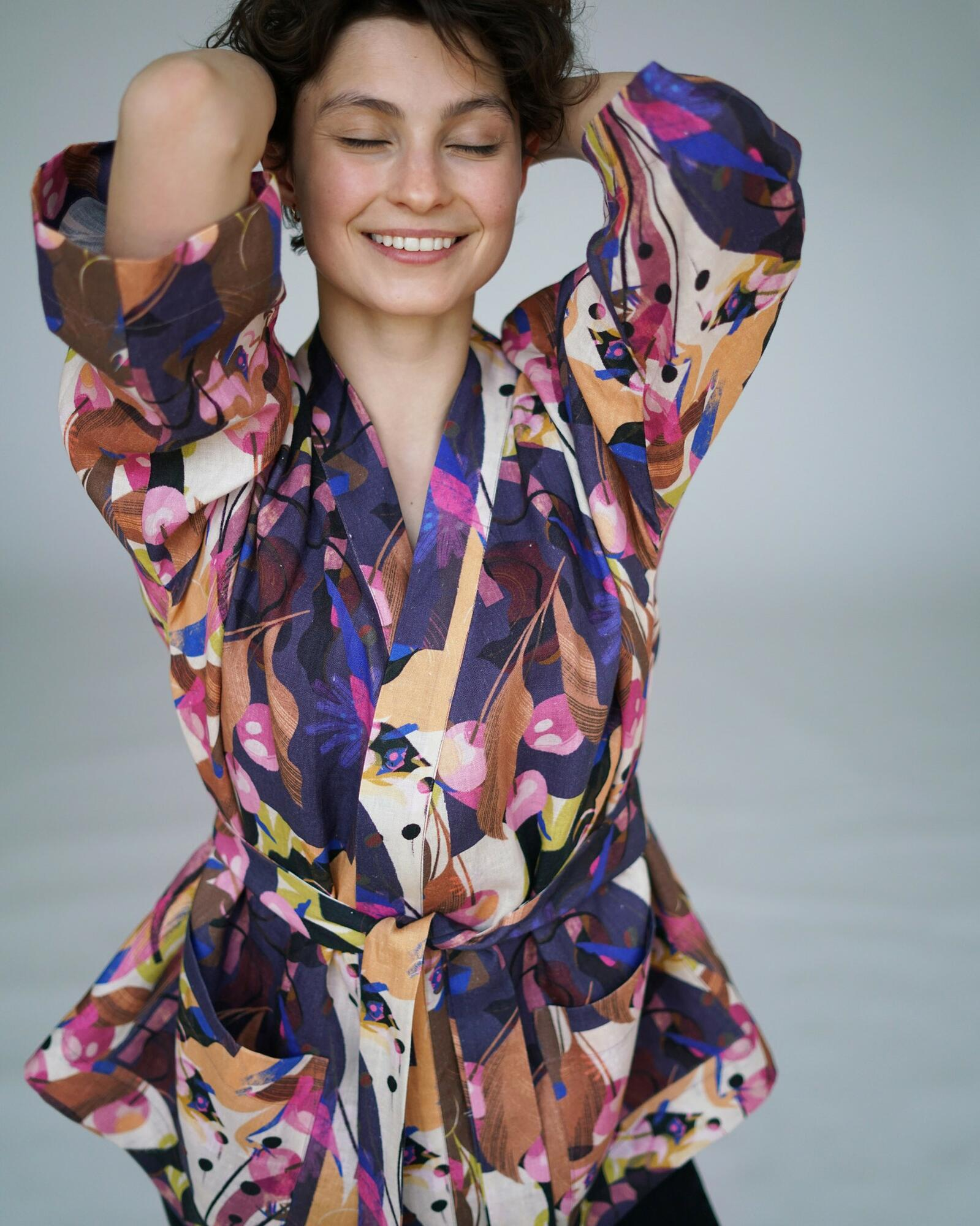 Kimono lniane SzerySzery Lejdi (wzór: Anna Rudak dla Bäckerei Bytom) - Bäckerei Bytom | JestemSlow.pl