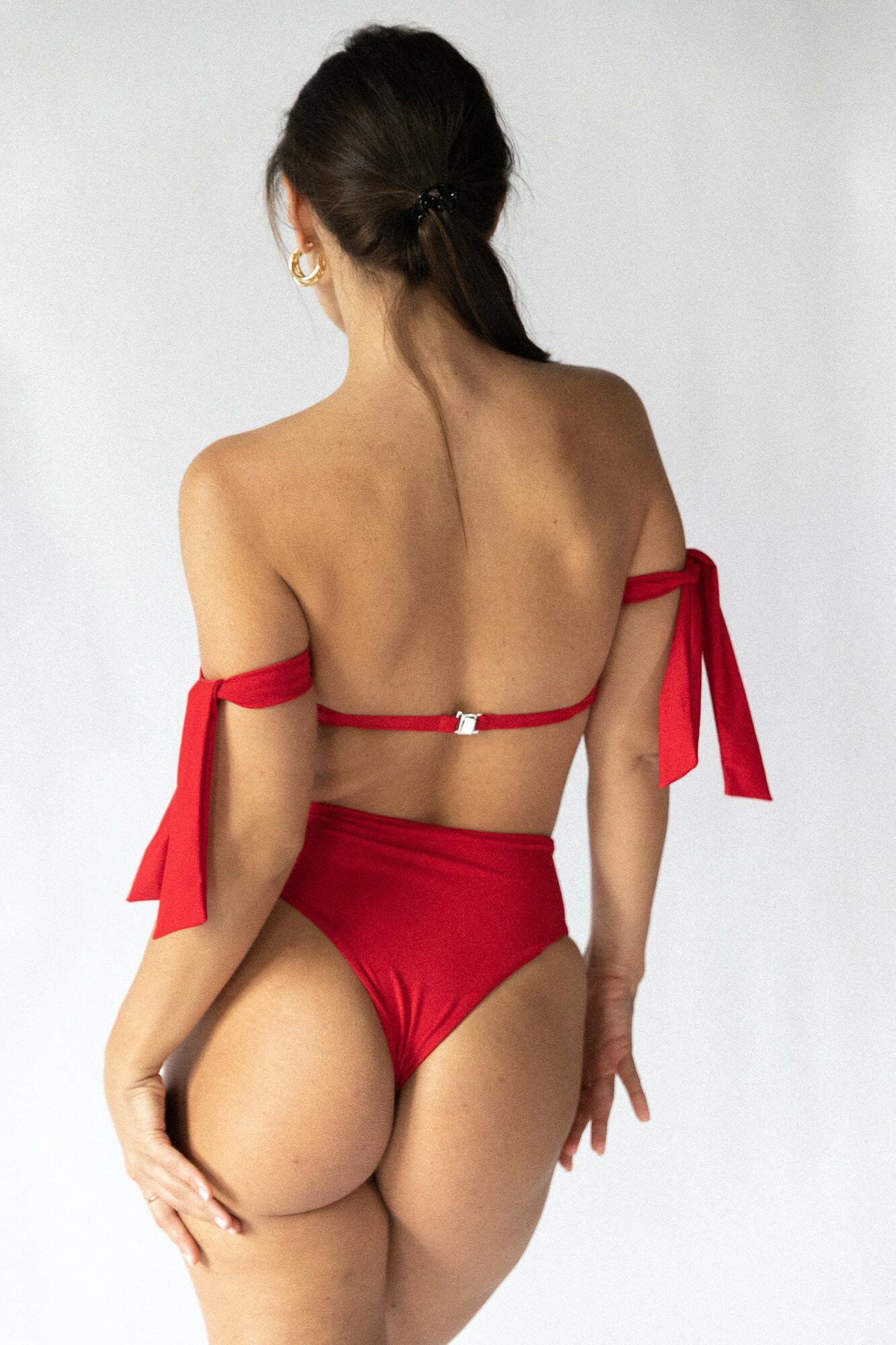 CAPRI BANDEAU TOP red - Tropiko Swimwear   JestemSlow.pl