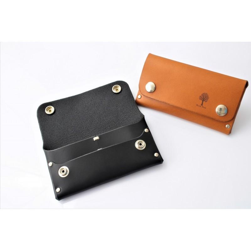 Skórzany portfel na karty, gotówkę i dowód rejestracyjny szeroki Czarny Skóra naturalna - HisOutfit