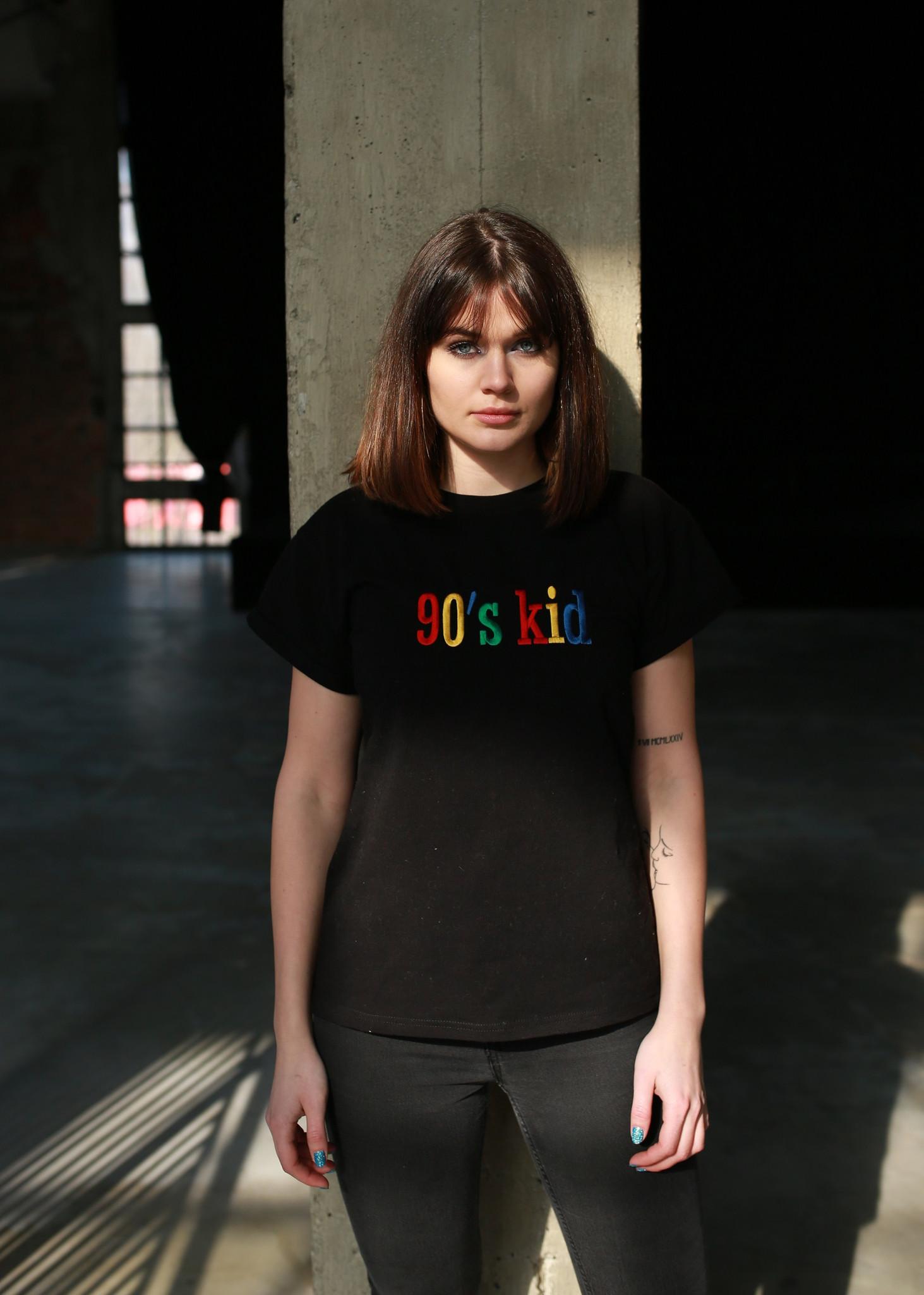 Czarny T-shirt 90's kid Black - whysoserious