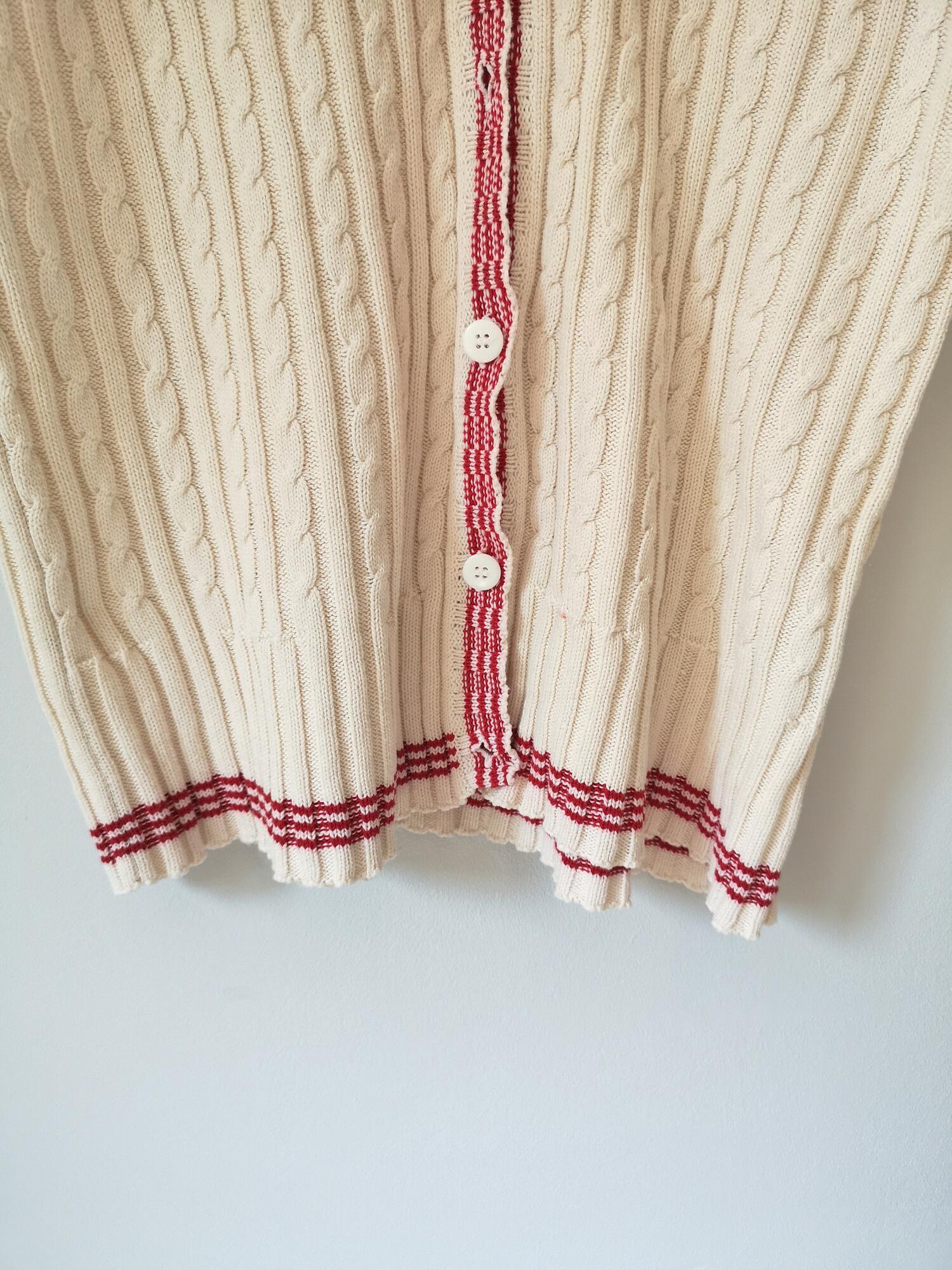 Vintage kardigan z czerwoną lamówką - PONOŚ SE vintage shop | JestemSlow.pl