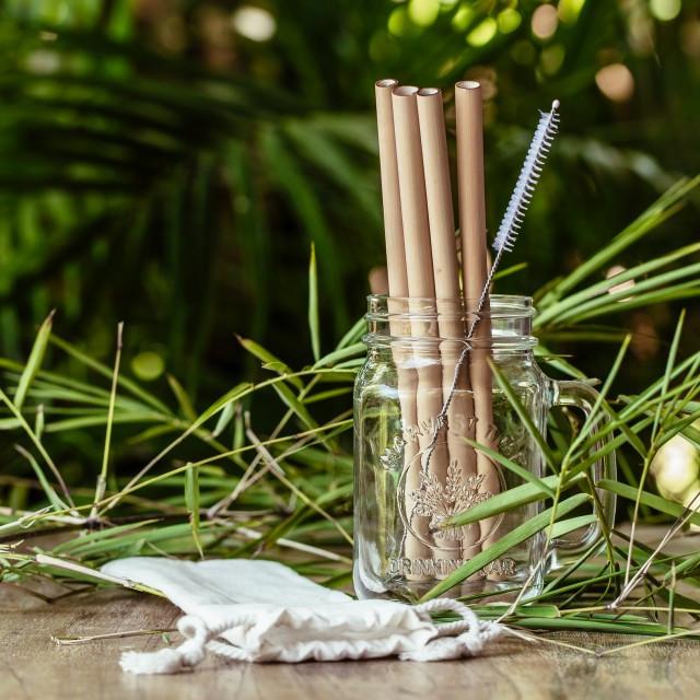 Bambusowe słomki do napojów - 4 sztuki - COCOBAMBOO