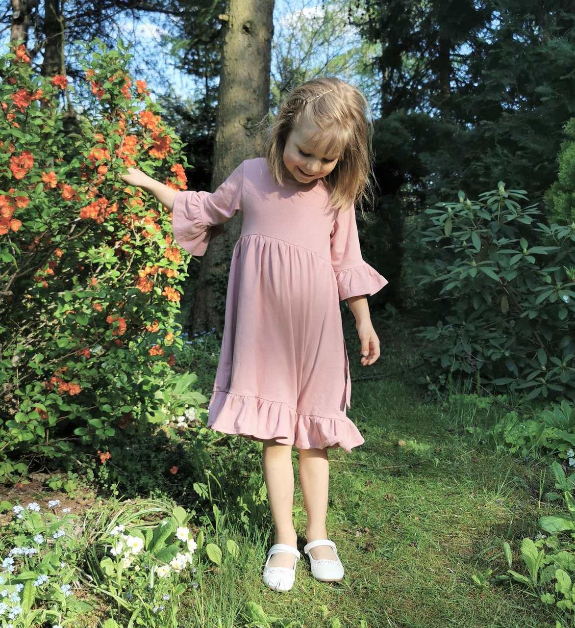 Sukienka Nel Kwarcowy Róż - Falbanki   JestemSlow.pl