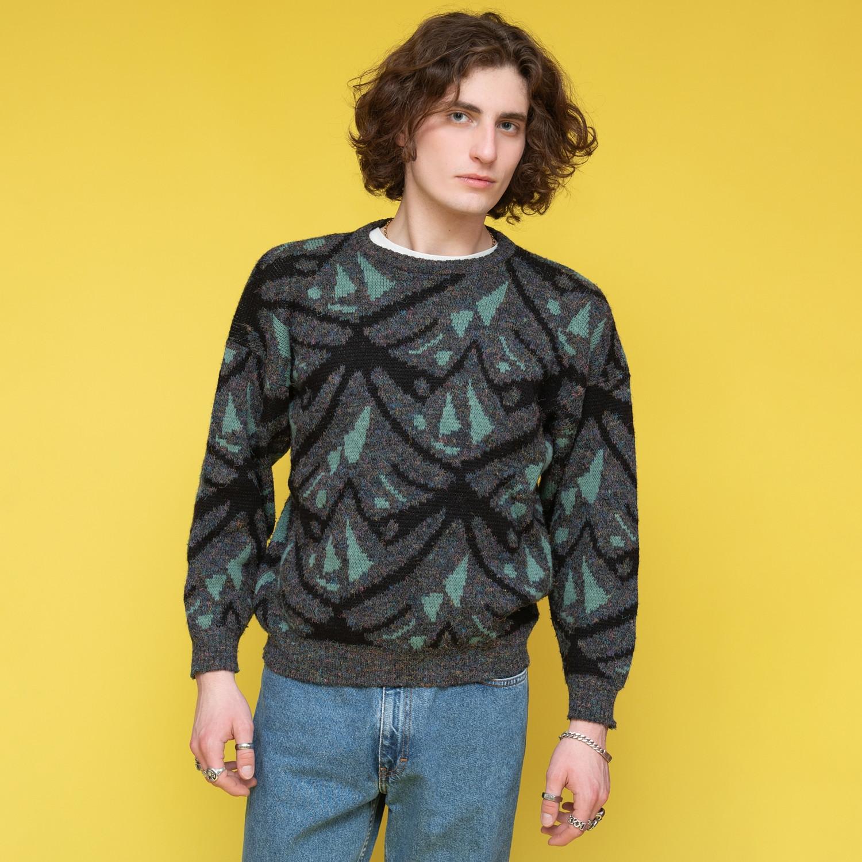 Szaro - turkusowy sweter - KEX Vintage Store   JestemSlow.pl