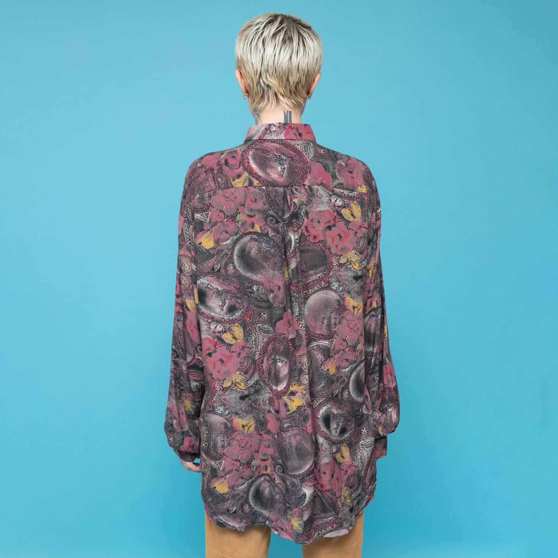 Koszula z lat 80-tych w abstrakcyjne wzory w odcieniach fioletu - KEX Vintage Store | JestemSlow.pl